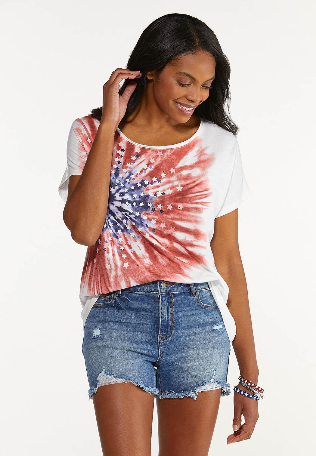 Plus Size Americana Tie Dye Tee (Item #44589566)