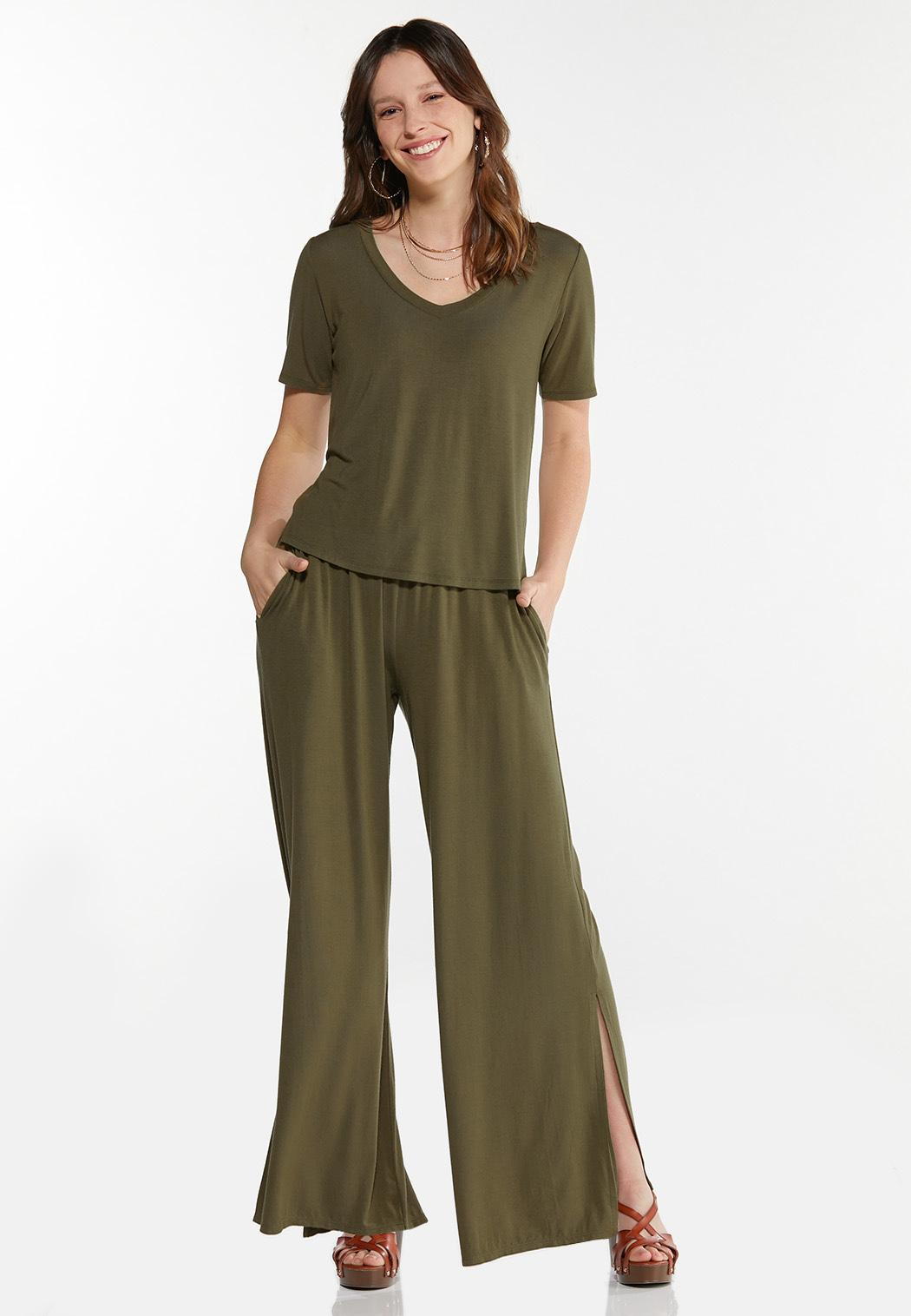 Olive Wide Leg Pants (Item #44589693)