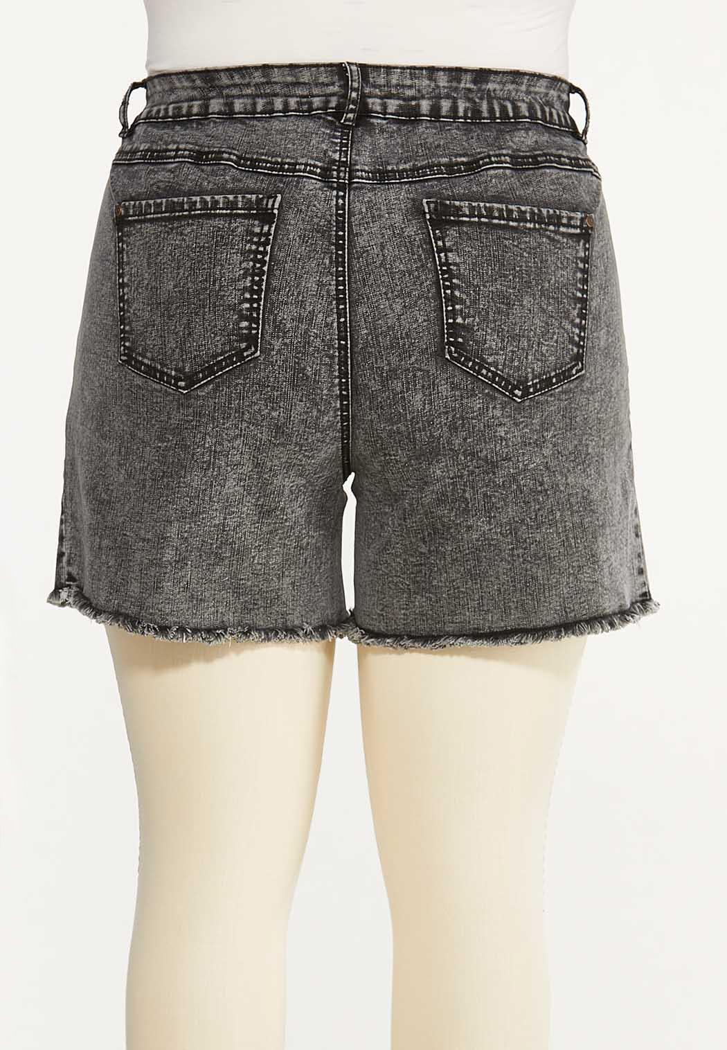 Plus Size Black Acid Wash Denim Shorts (Item #44589694)