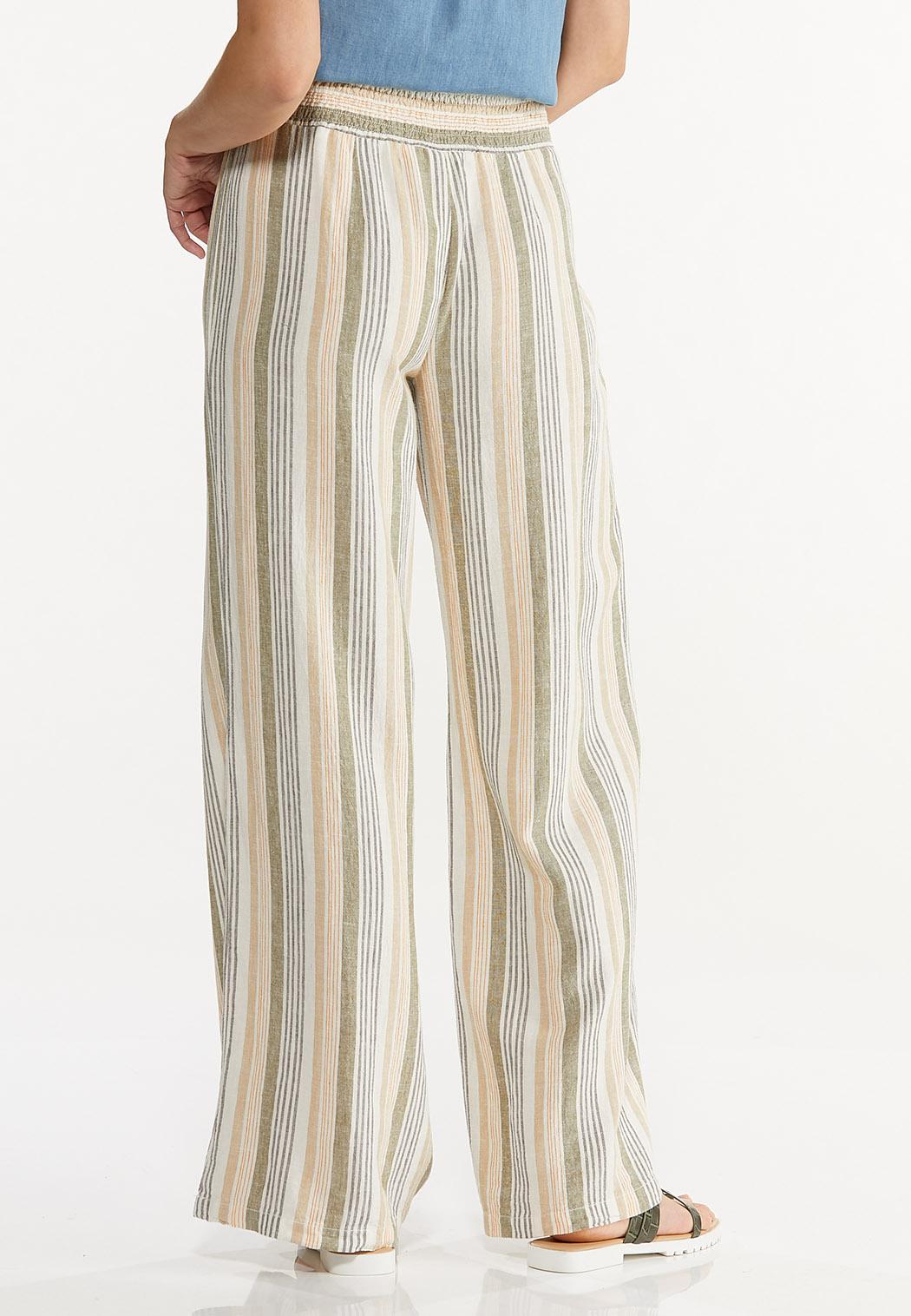Striped Linen Palazzo Pants (Item #44589701)