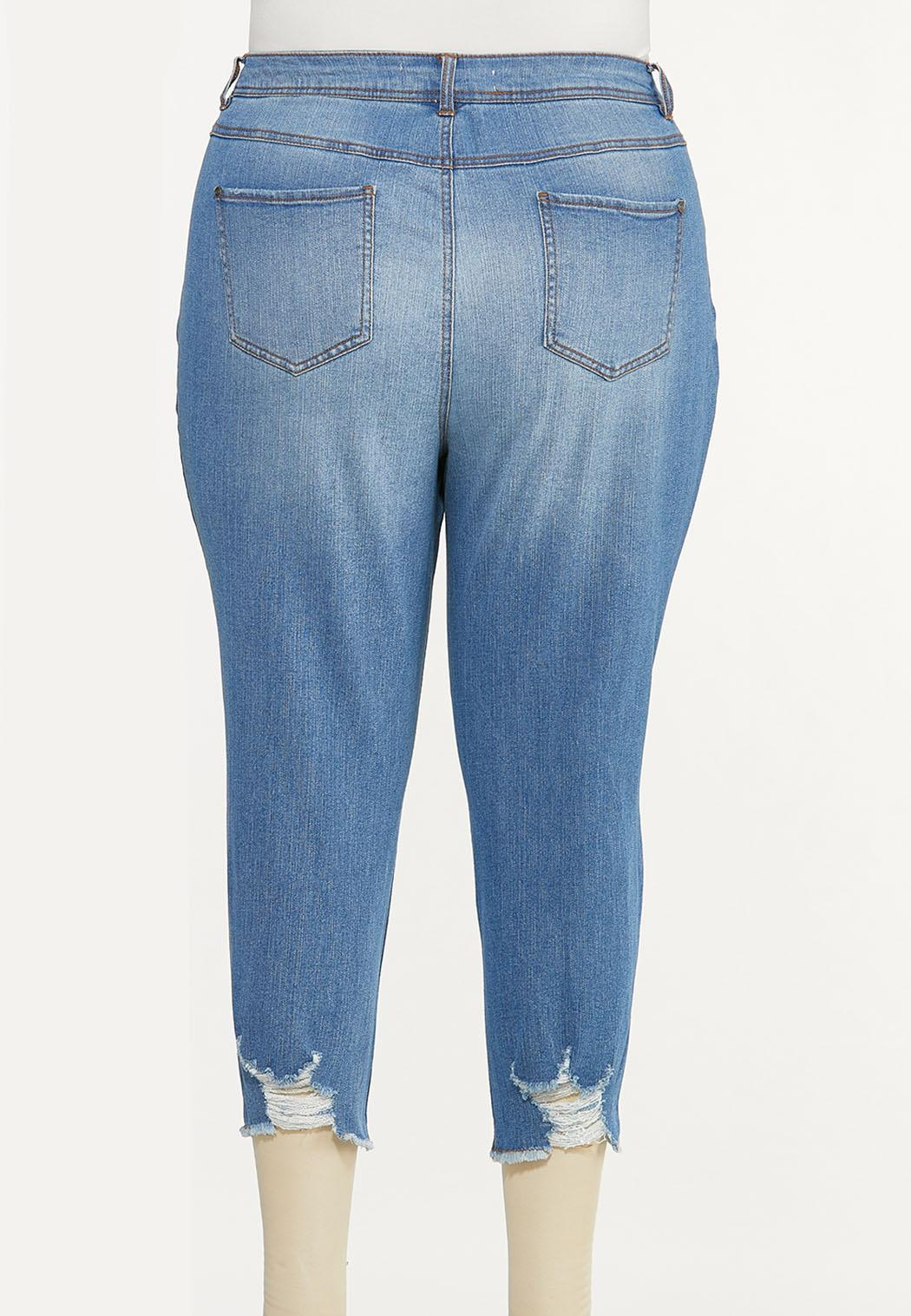 Plus Size Cropped Distressed Skinny Jeans (Item #44589759)