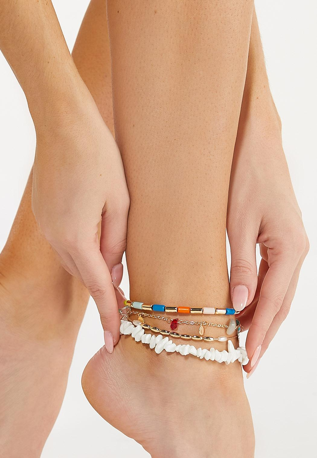 Rainbow Bead Anklet Set (Item #44589825)