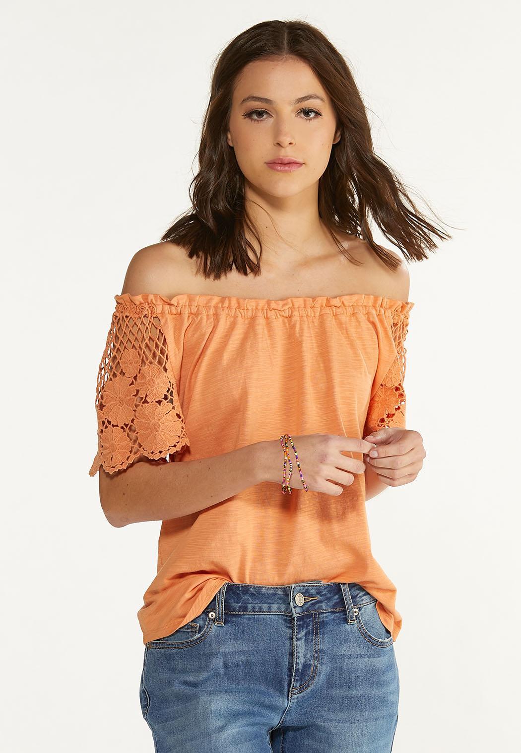 Crochet Flutter Sleeve Top (Item #44589889)