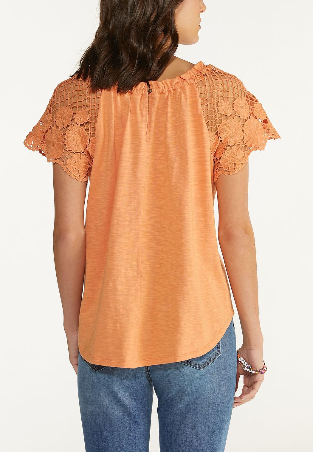 Plus Size Crochet Flutter Sleeve Top (Item #44589952)