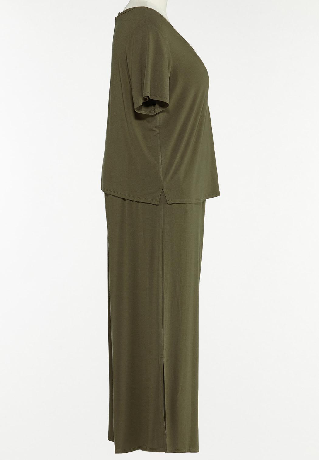 Plus Size Olive Wide Leg Pants (Item #44589977)