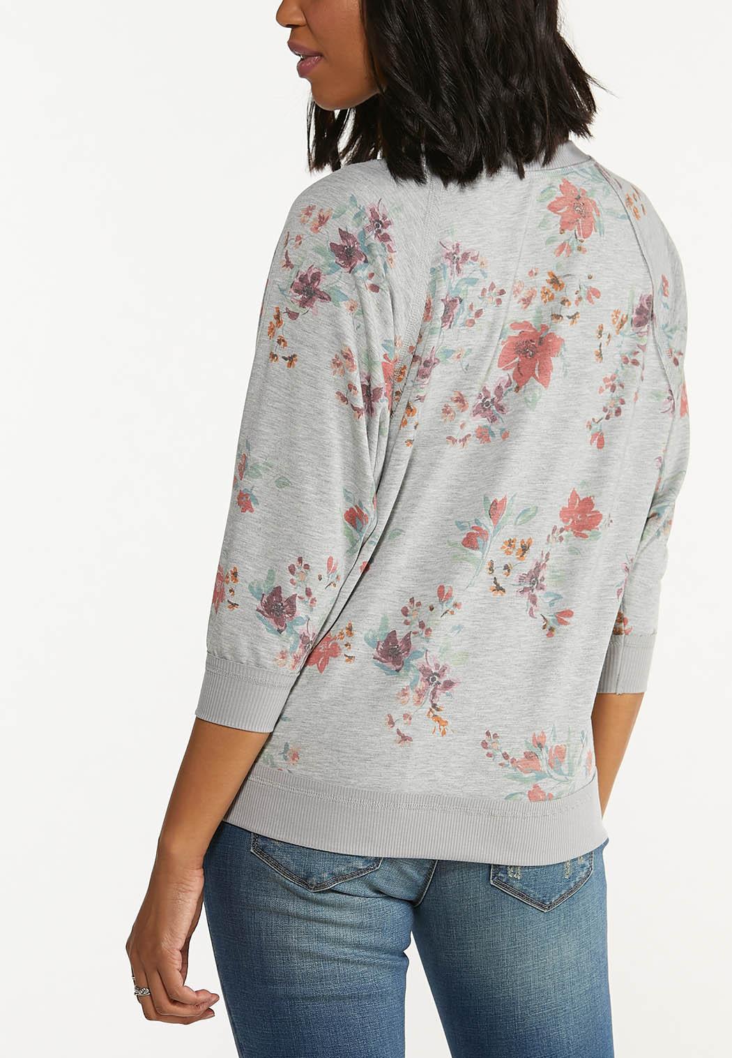 Plus Size Gray Floral Sweatshirt (Item #44590216)