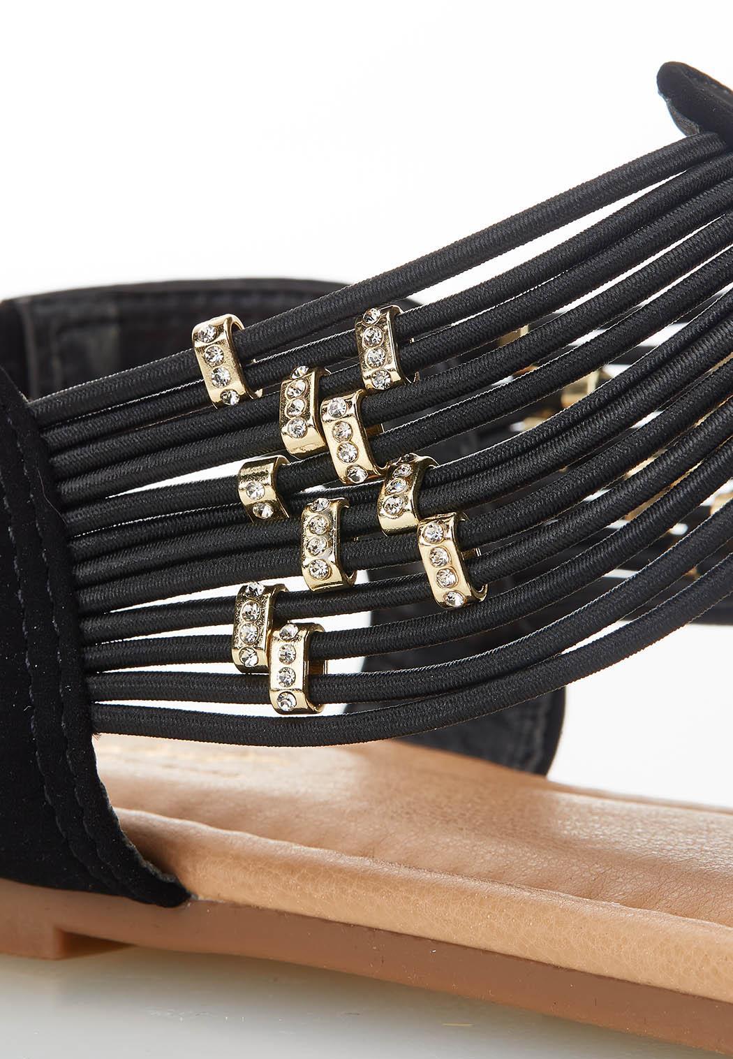 Embellished Stretch Thong Sandals (Item #44590350)