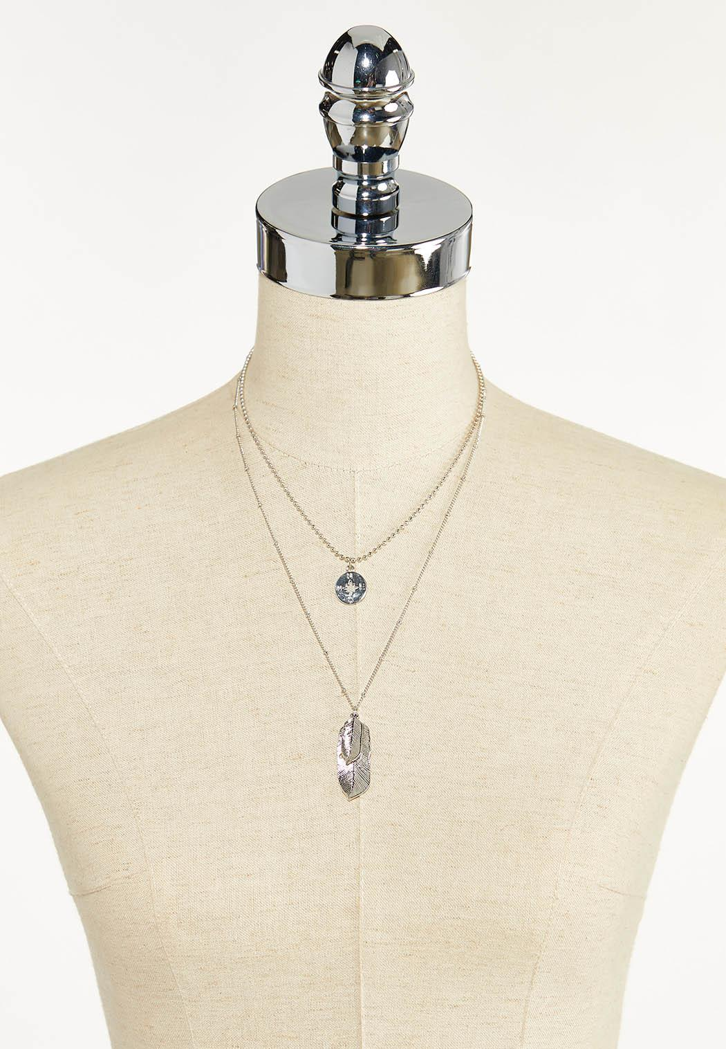 Layered Feather Compass Necklace (Item #44590514)