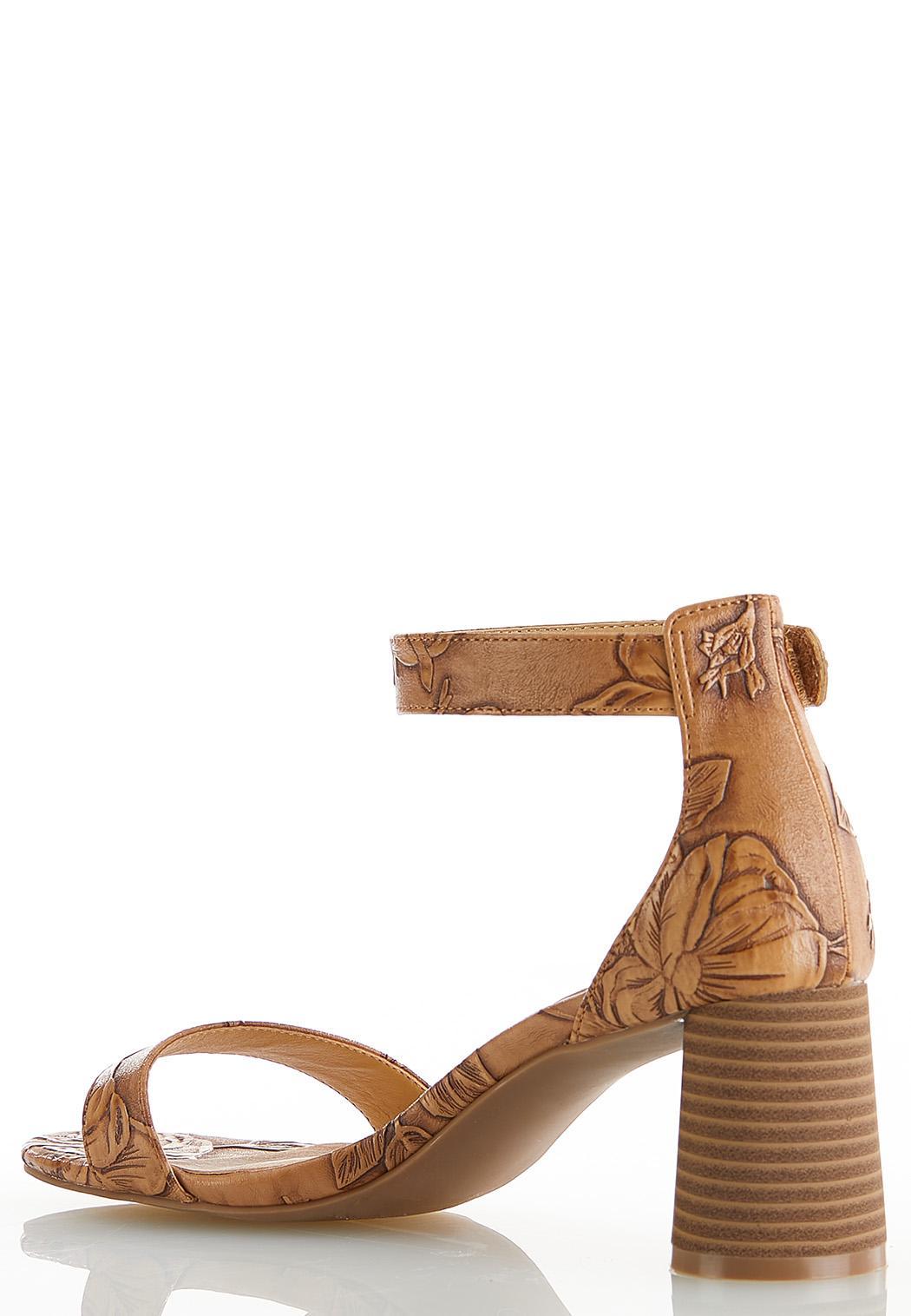Tooled Cylinder Heel Sandals (Item #44590634)