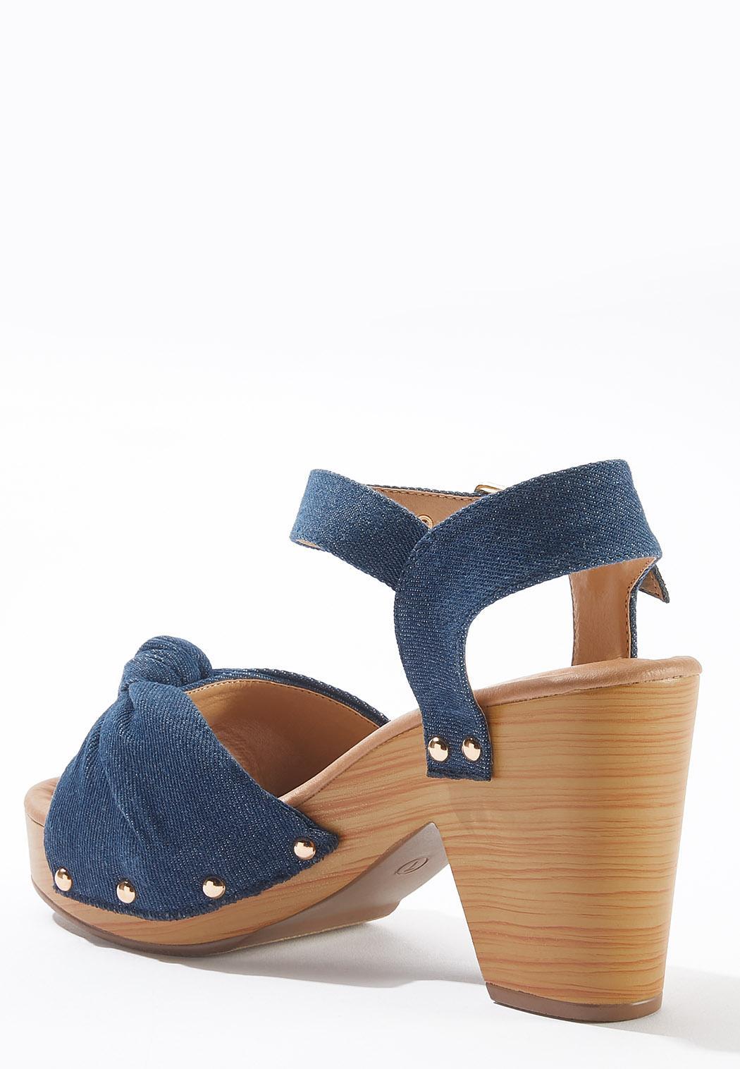 Denim Knotted Platform Sandals (Item #44590881)