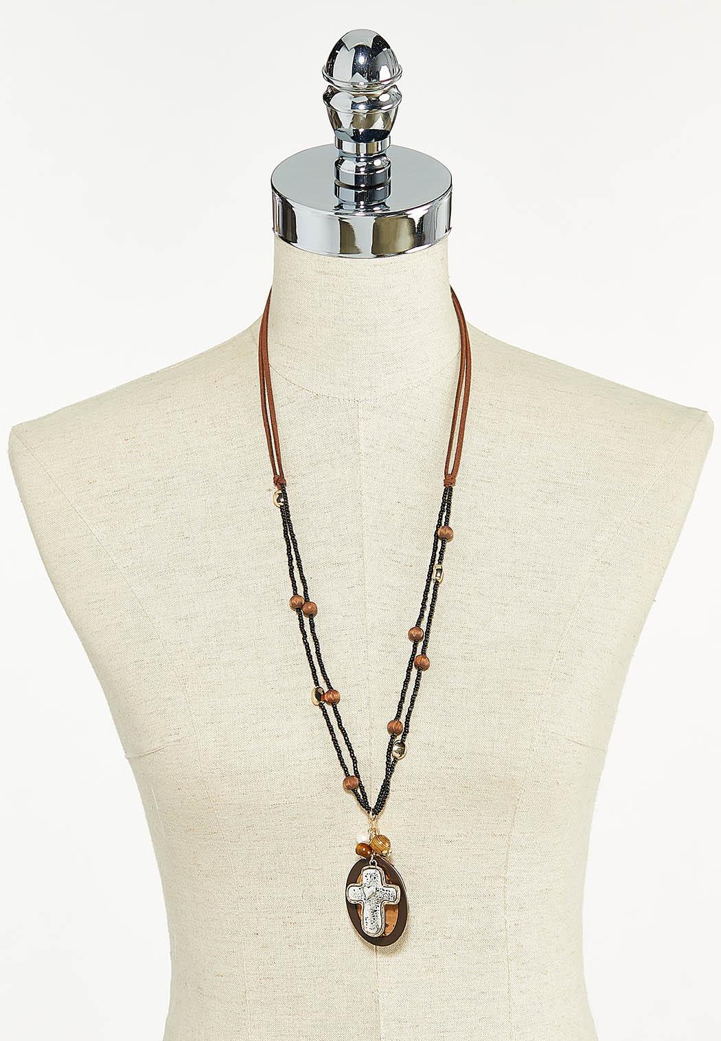 Suede Cord Cross Pendant Necklace (Item #44590893)