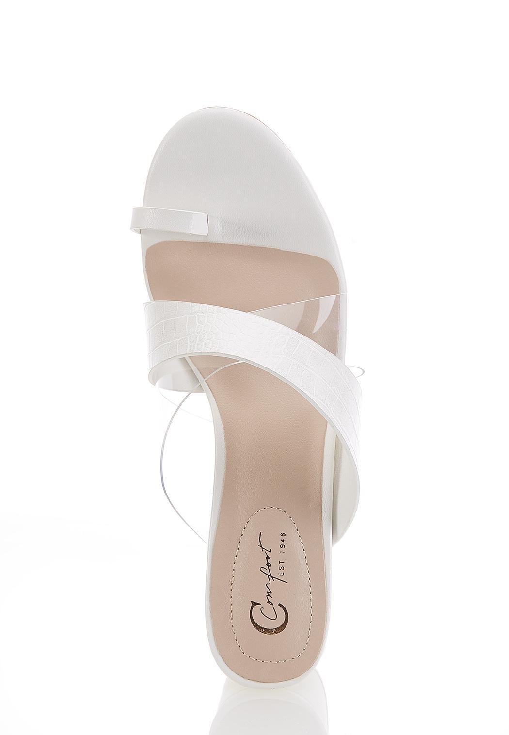 White Toe Loop Heeled Sandals (Item #44590933)