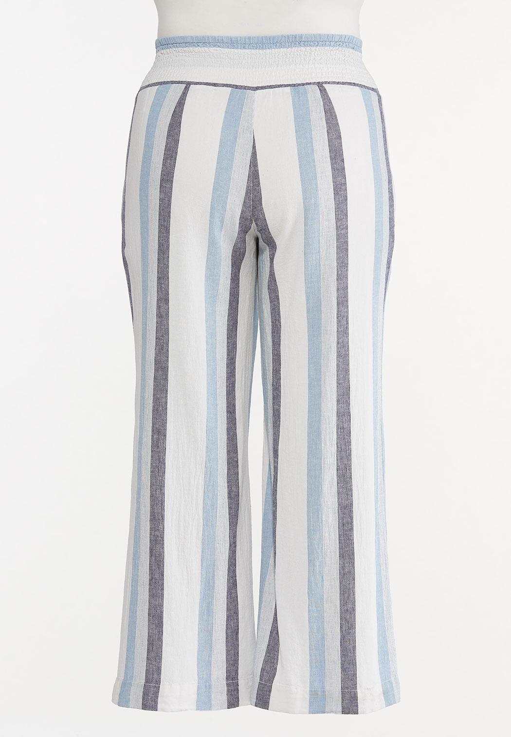 Plus Size Striped Linen Palazzo Pants (Item #44591254)