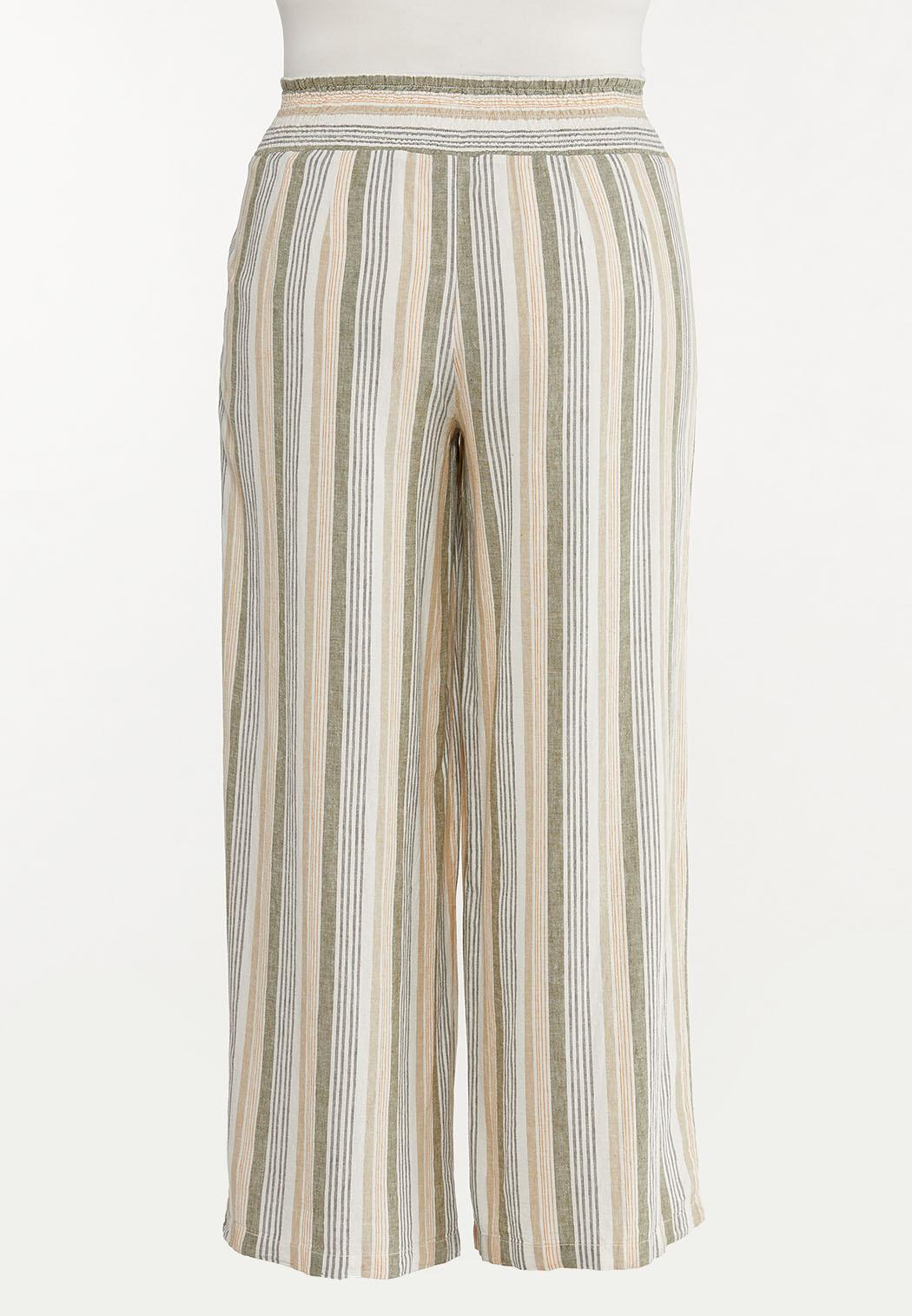 Plus Size Striped Linen Palazzo Pants (Item #44591262)