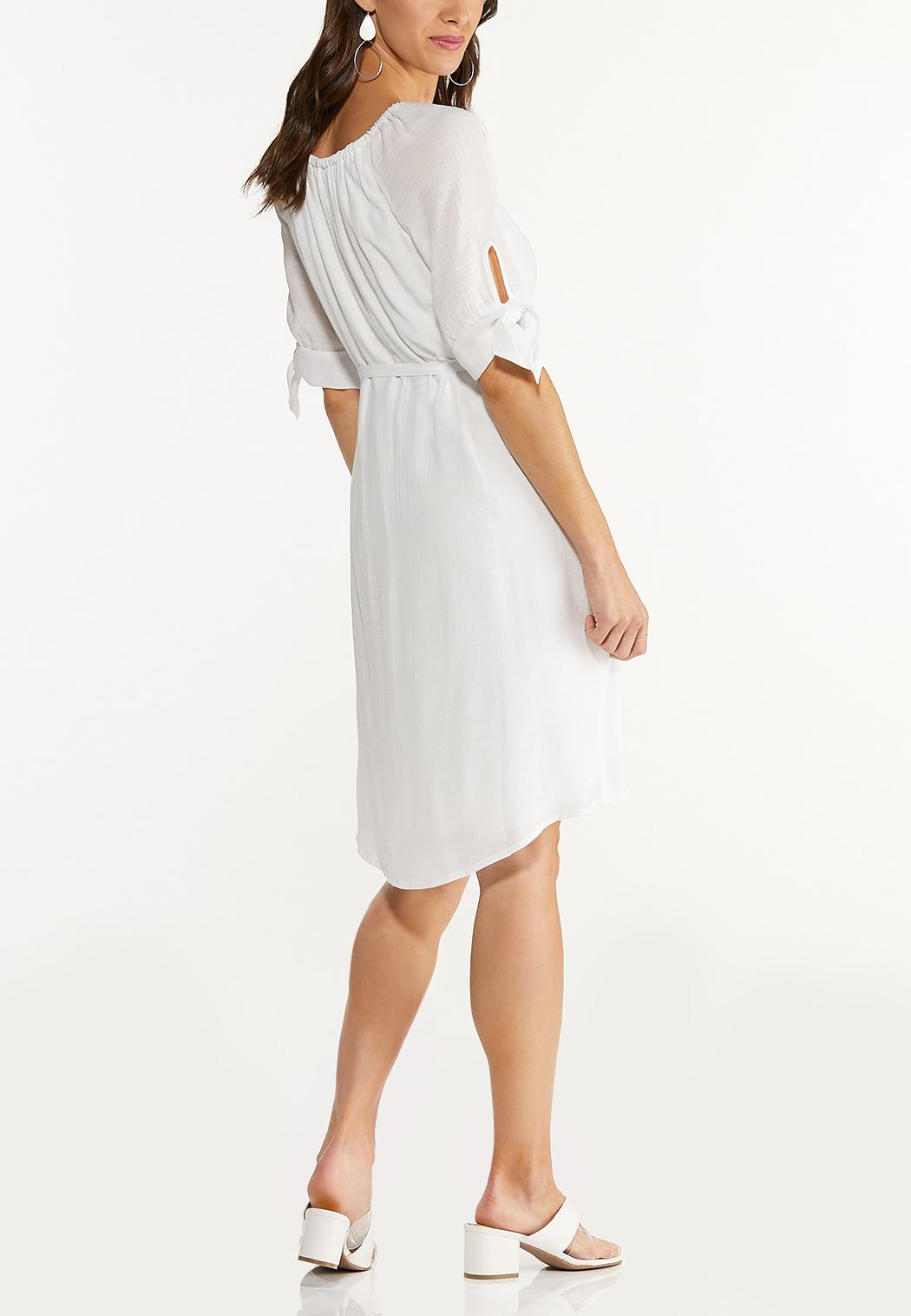 Plus Size Belted White Dress (Item #44591710)
