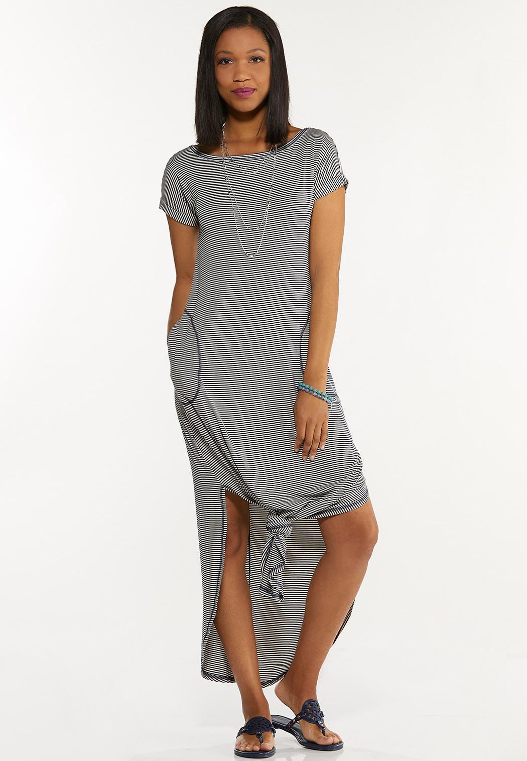 Plus Size Striped Tee Maxi Dress (Item #44591750)