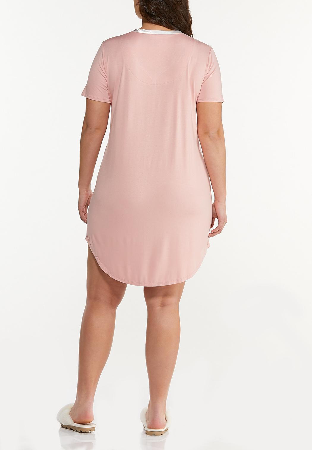 Plus Size Satin Trim Sleep Shirt (Item #44591878)
