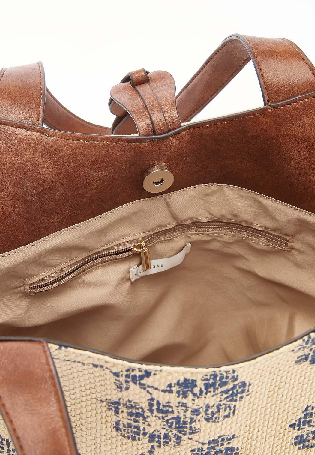 Printed Raffia Leather Trim Handbag (Item #44592143)