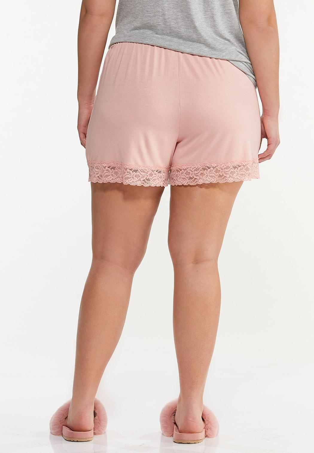 Plus Size Lace Trim Sleep Shorts (Item #44592245)