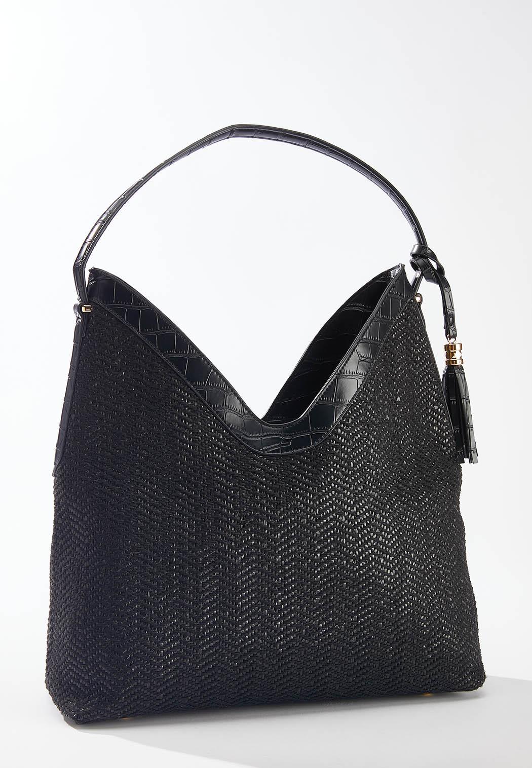 Croc Trim Woven Shoulder Bag (Item #44592262)