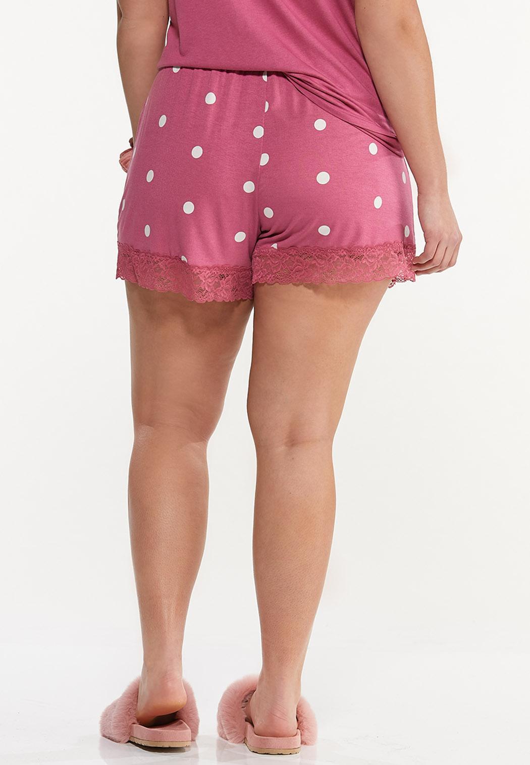 Plus Size Dotted Lace Sleep Shorts (Item #44592320)