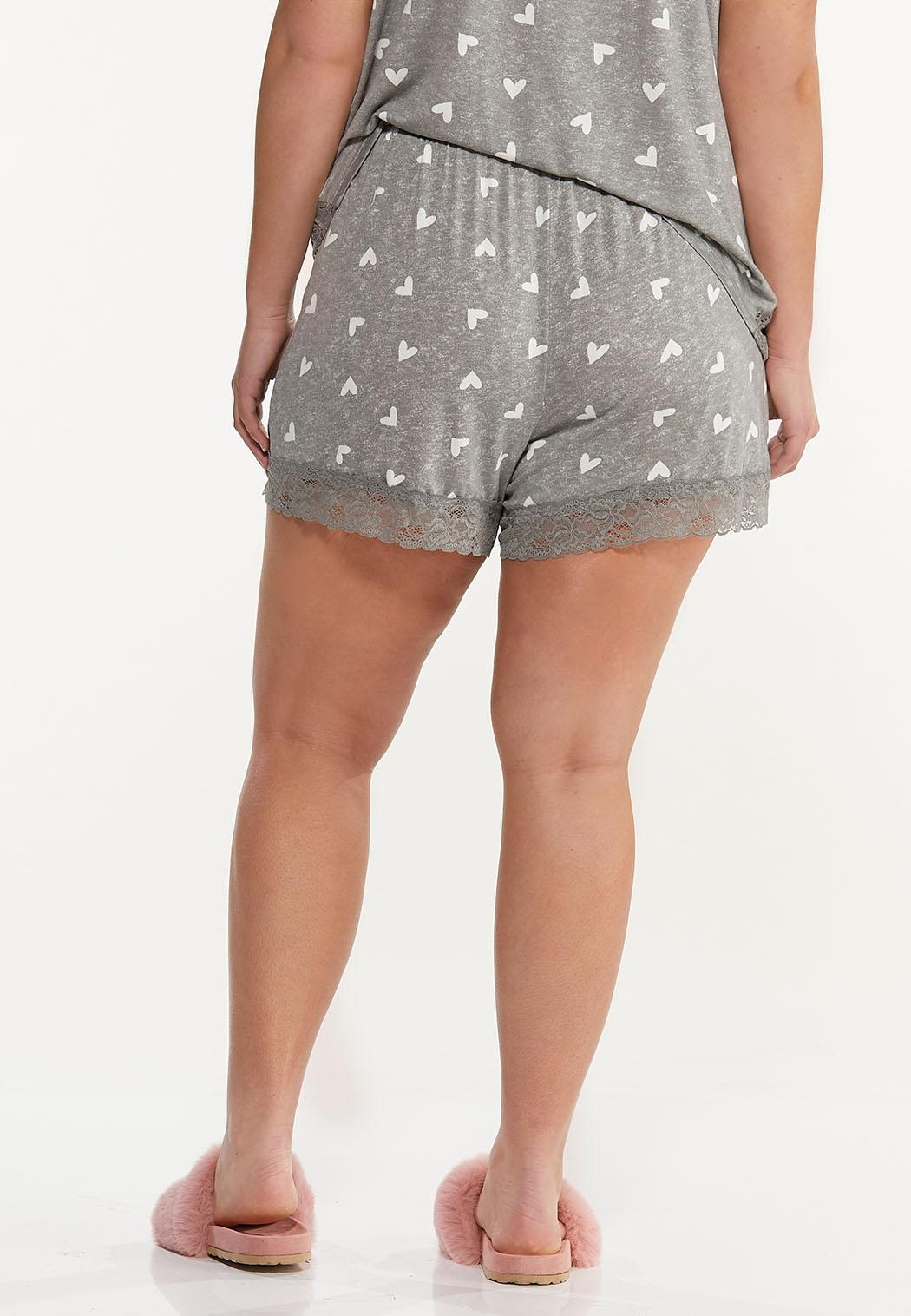 Plus Size Heart Sleep Shorts (Item #44592329)