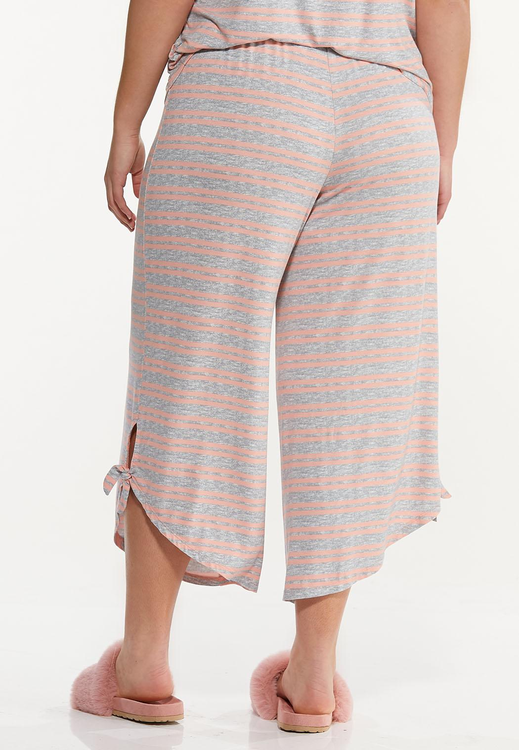 Plus Size Cropped Stripe Lounge Pants (Item #44592407)