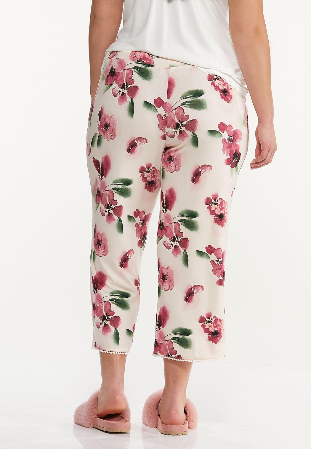 Plus Size Cropped Floral Sleep Pants (Item #44592502)