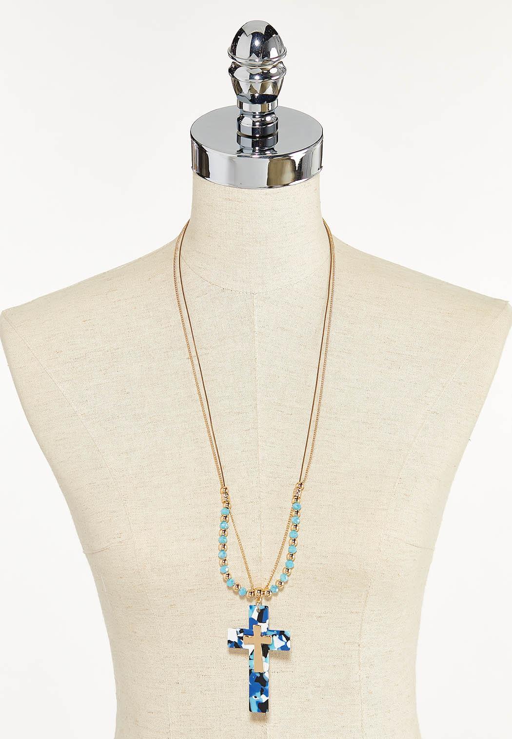 Multi Strand Cross Pendant Necklace (Item #44592523)
