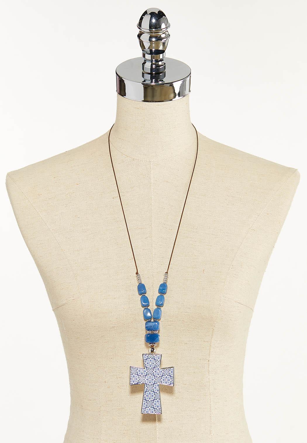 Blue Stone Cross Cord Necklace (Item #44592598)