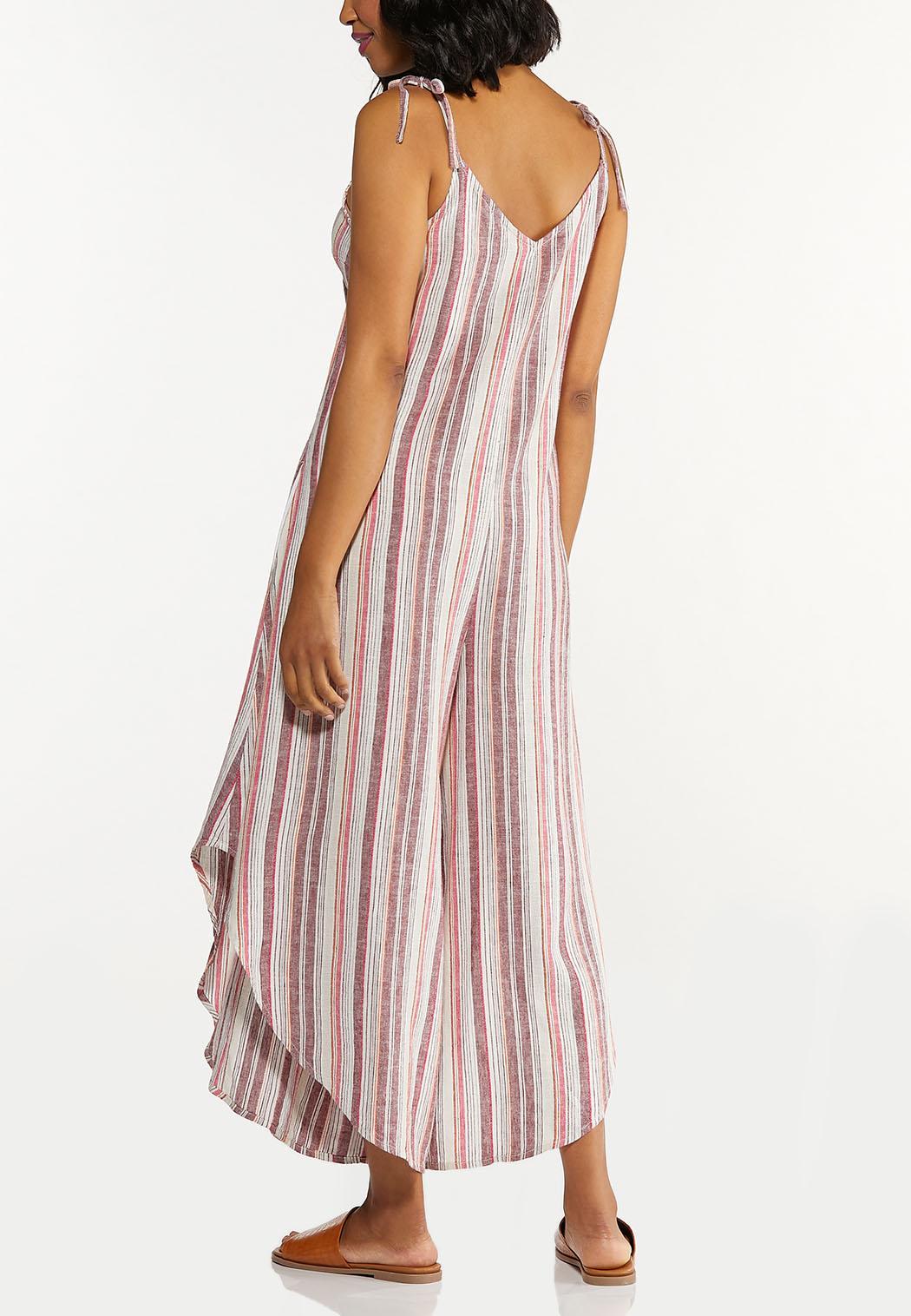 Plus Size Striped Linen Genie Jumpsuit (Item #44592773)