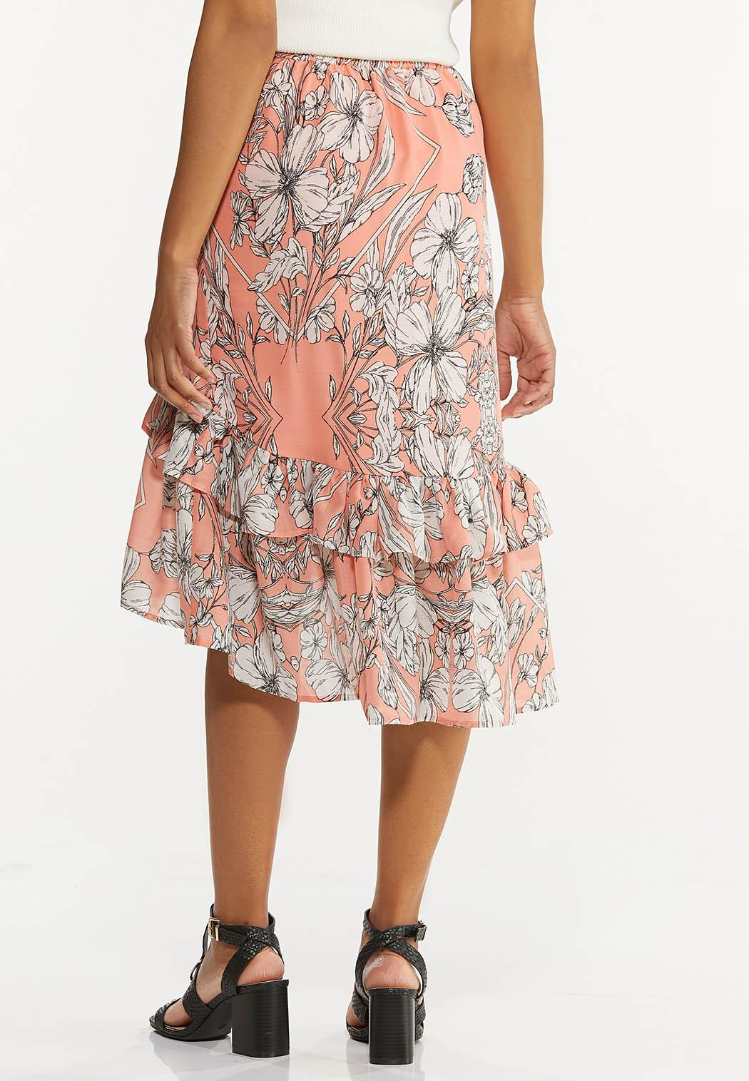 Plus Size Ruffled Sketch Floral Midi Skirt (Item #44592783)