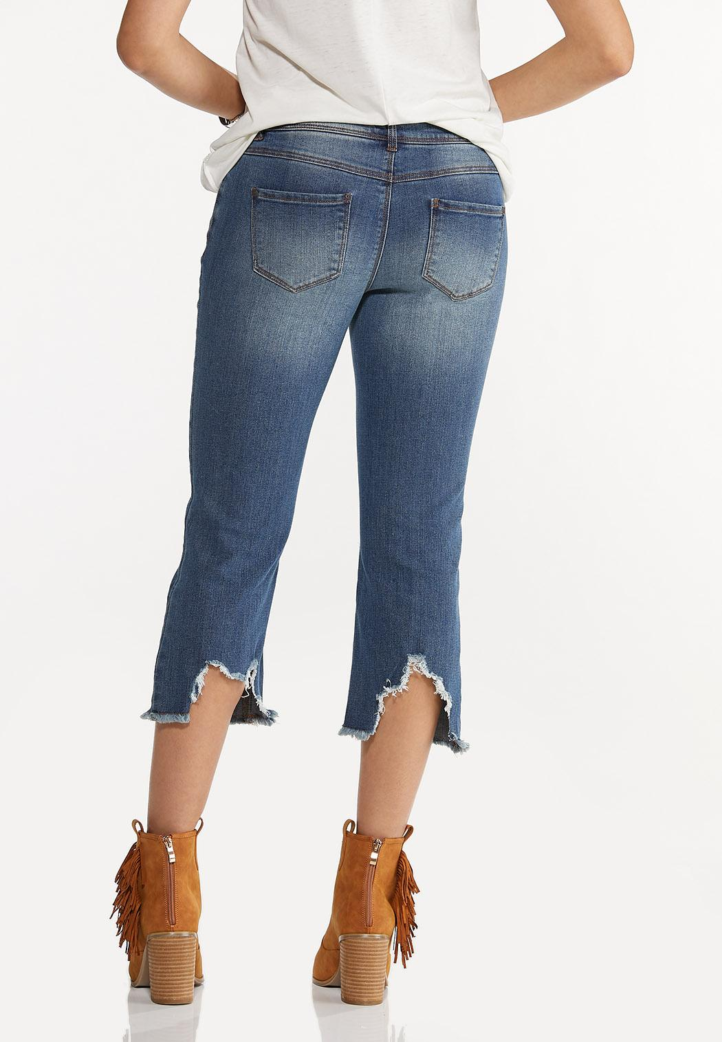 Cropped Distressed Flare Jeans (Item #44592831)