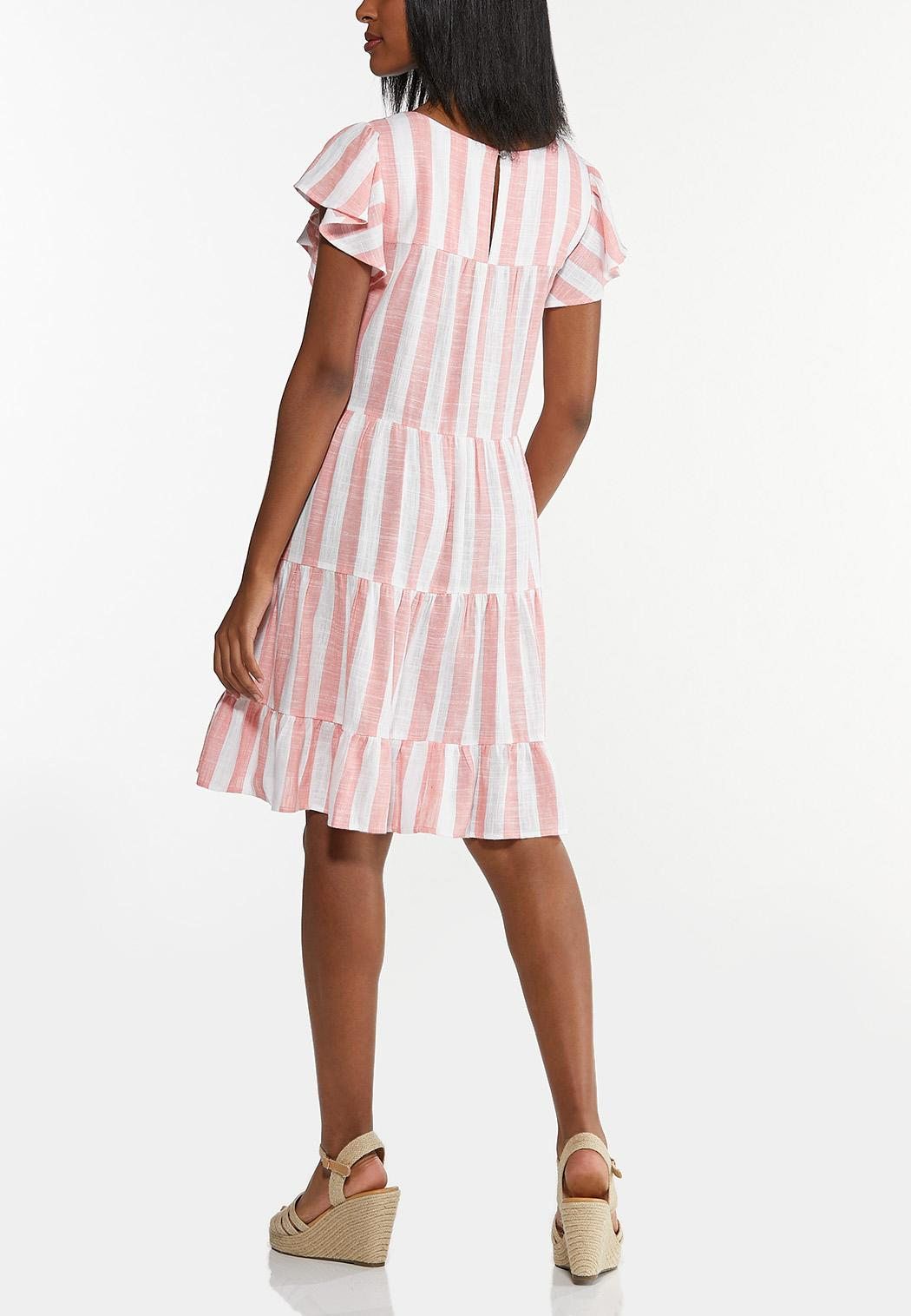 Peach Striped Linen Dress (Item #44592900)