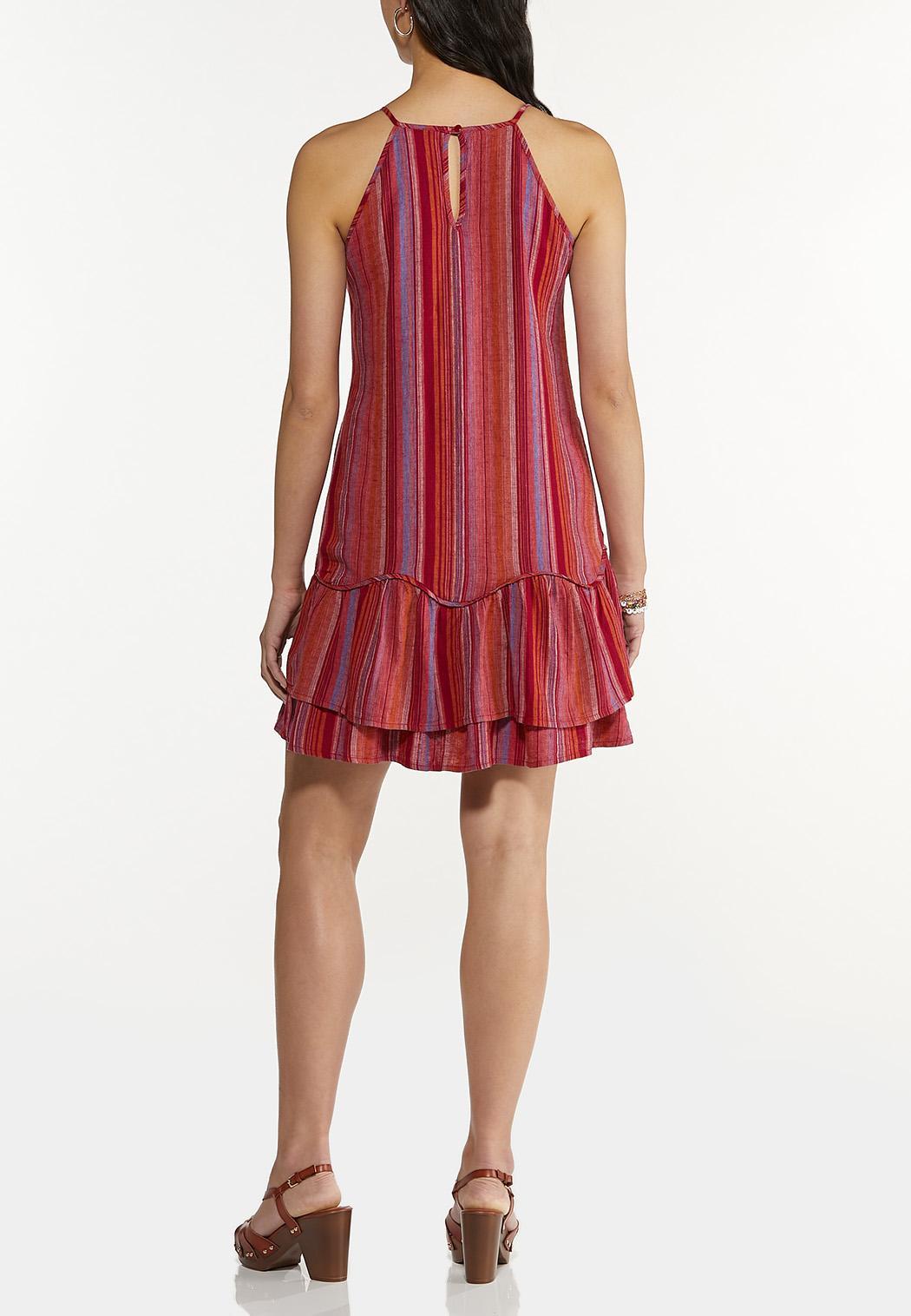 Plus Size Striped Linen Ruffled Dress (Item #44592945)
