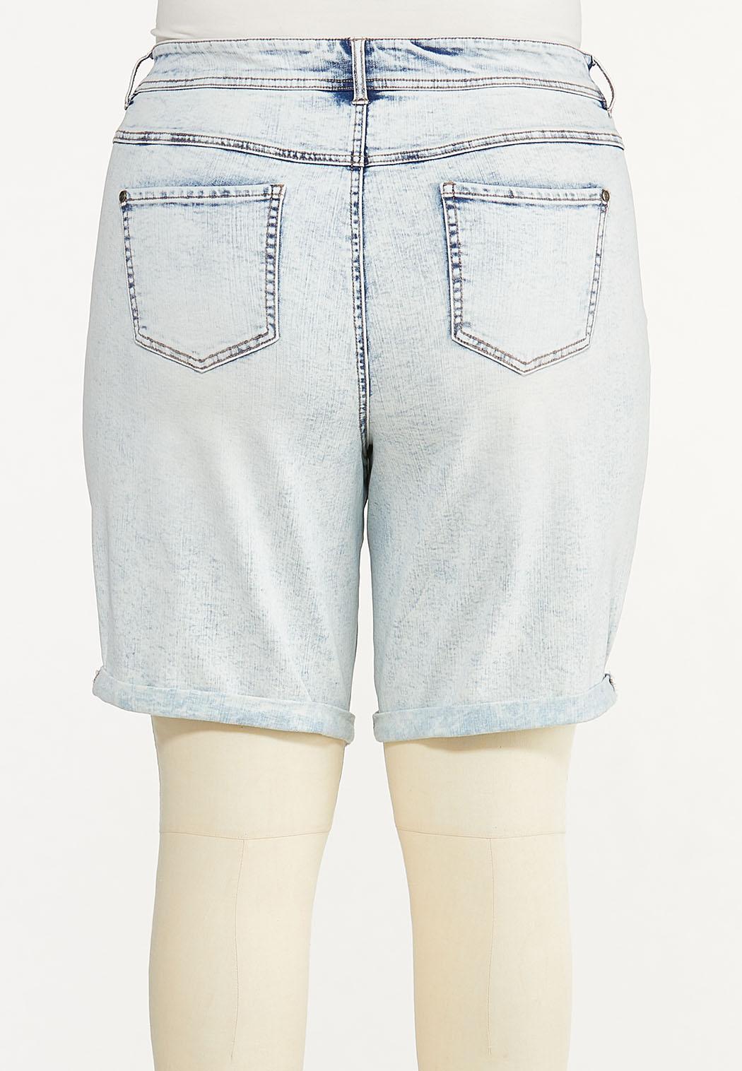 Plus Size Denim Bermuda Shorts (Item #44592966)