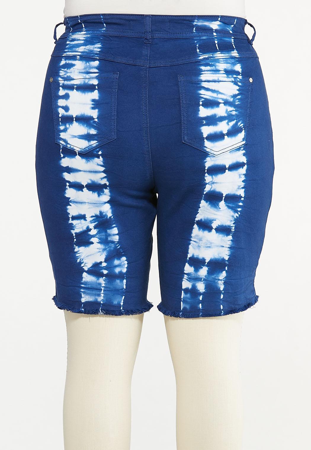 Plus Size Dyed Denim Shorts (Item #44592987)