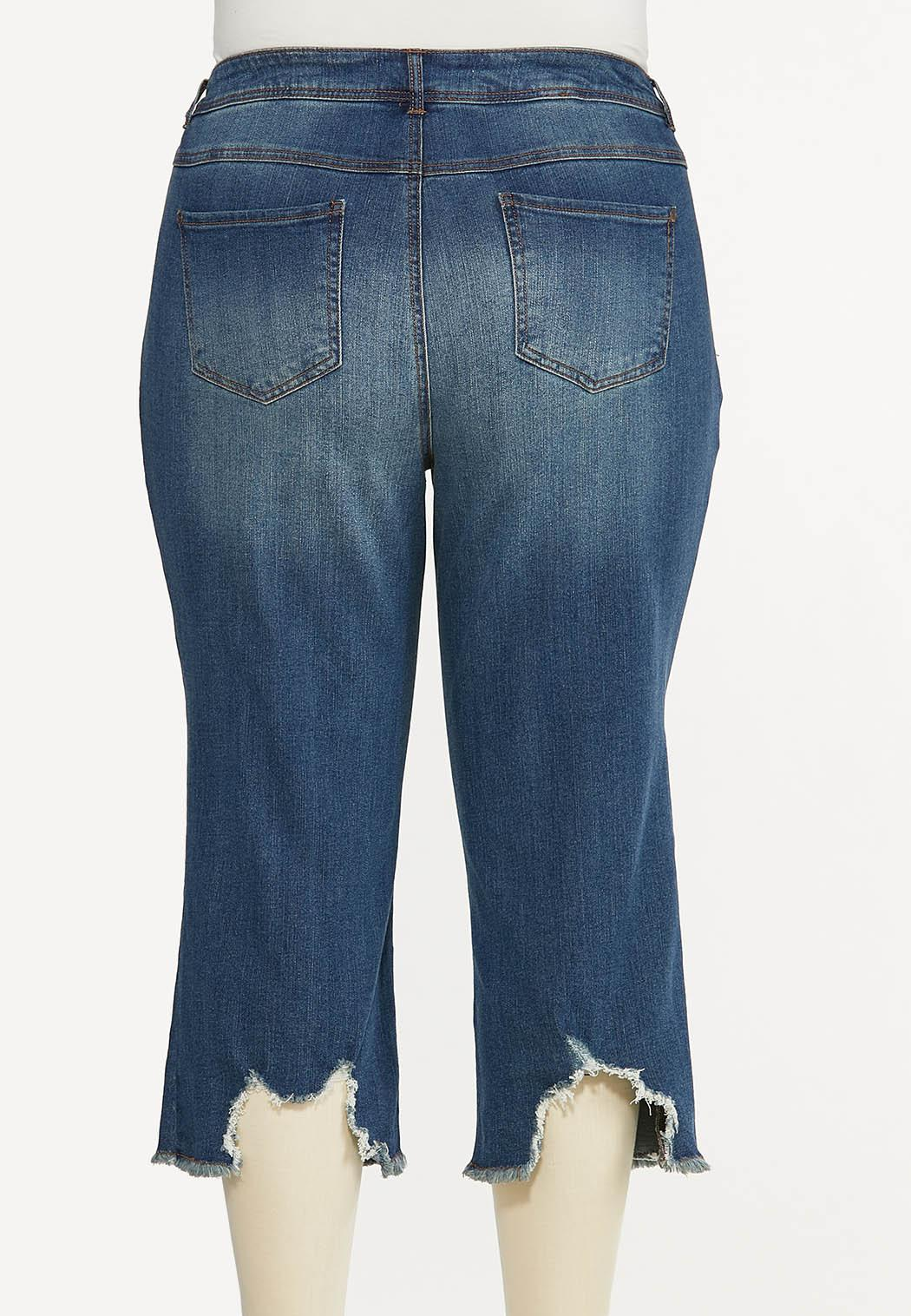 Plus Size Cropped Distressed Flare Jeans (Item #44593086)