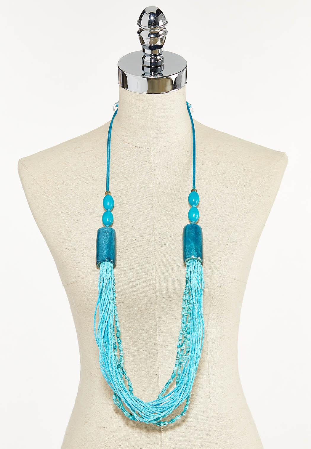 Blue Bead Pull-String Necklace (Item #44593430)