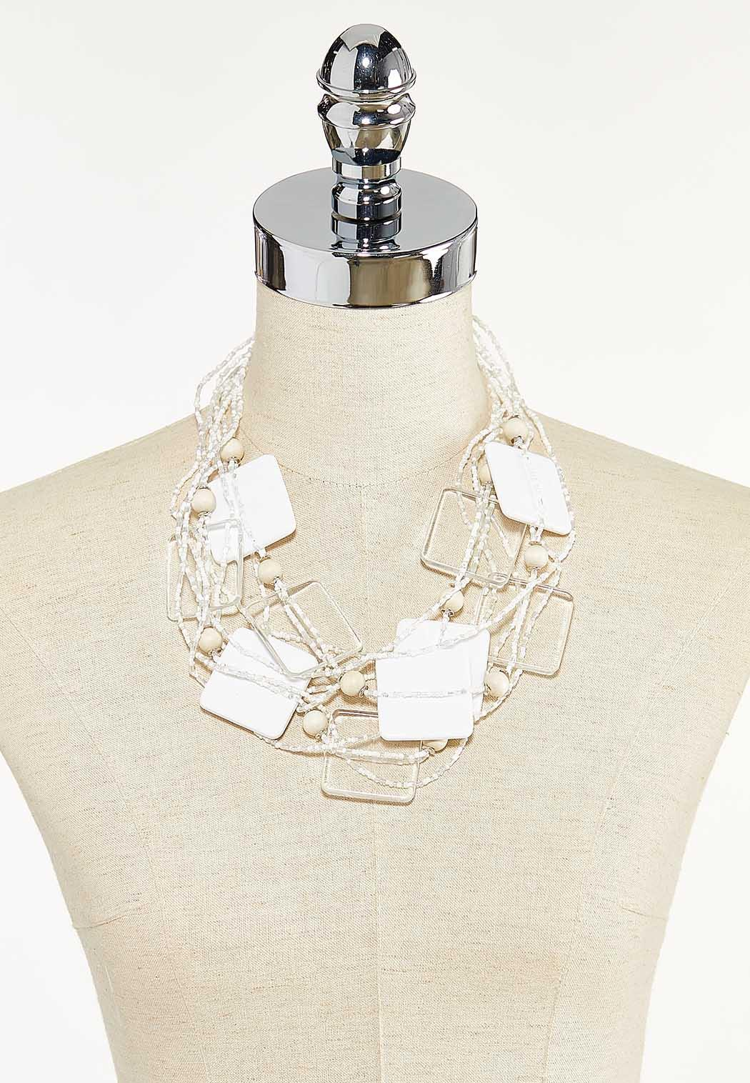 Multi Row Seed Bead Lucite Necklace (Item #44593447)