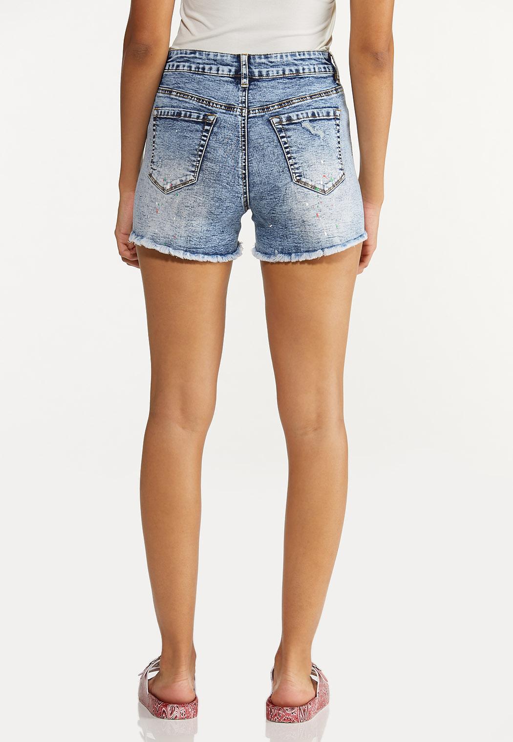 Distressed Paint Splatter Denim Shorts (Item #44594209)