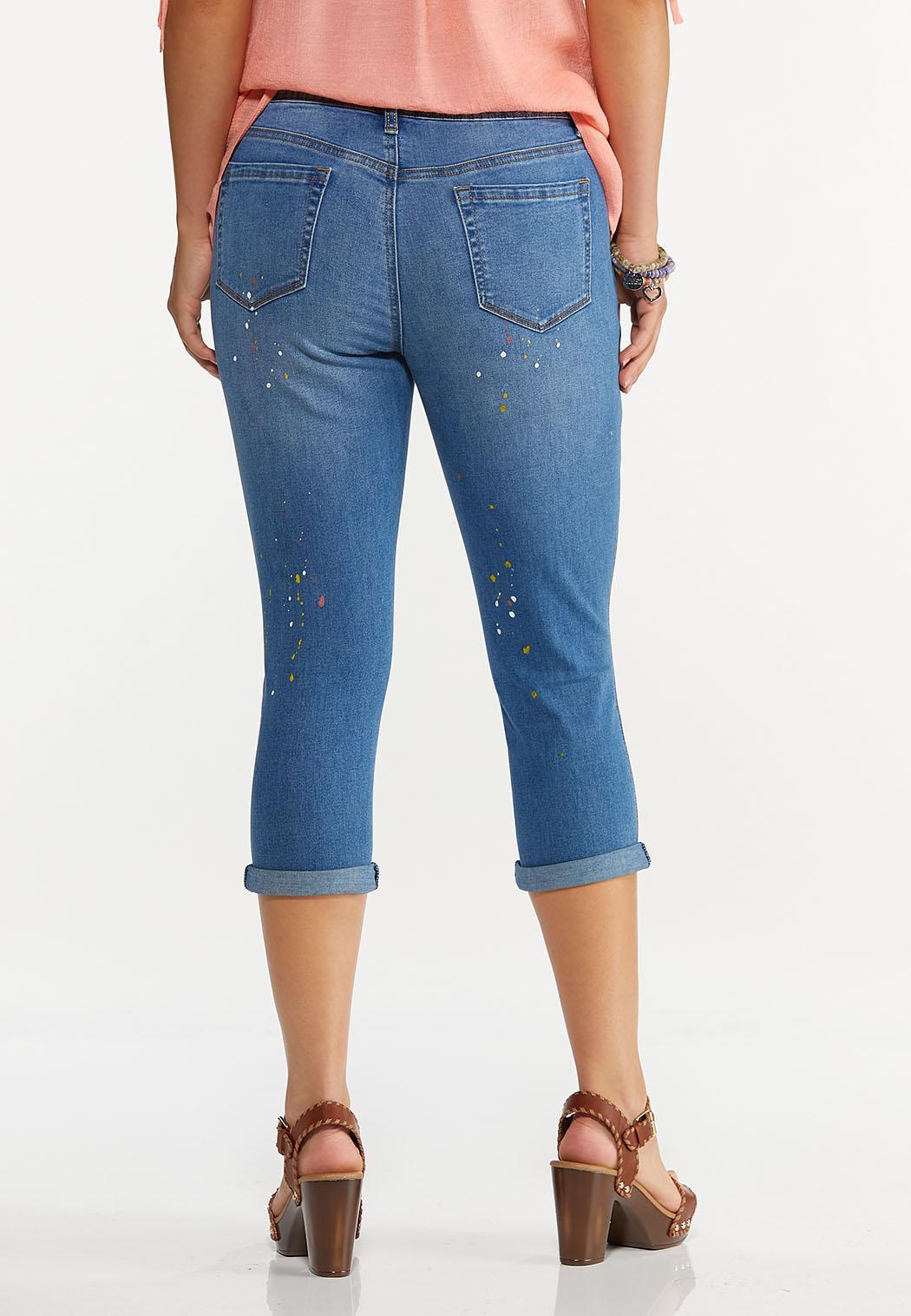 Cropped Paint Splatter Jeans (Item #44594237)