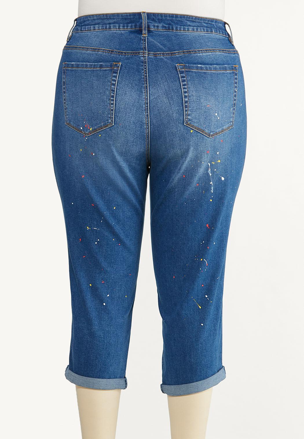 Plus Size Cropped Paint Splatter Jeans (Item #44594276)