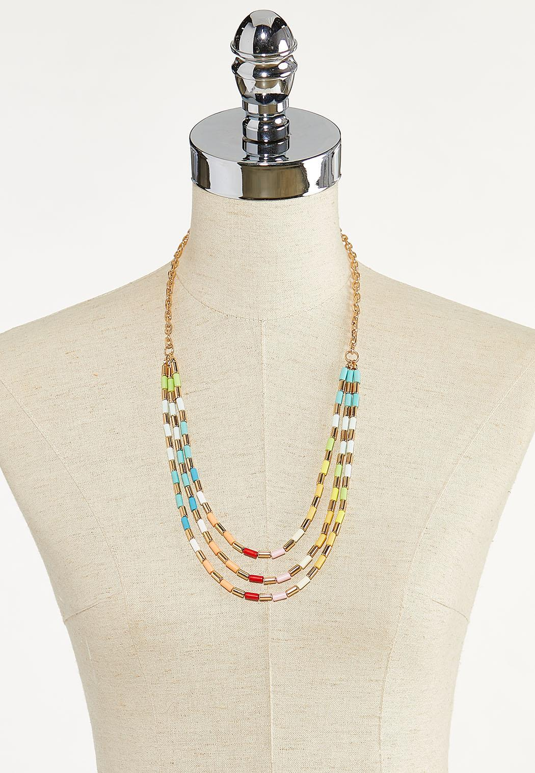 Layered Colored Bead Necklace (Item #44594483)