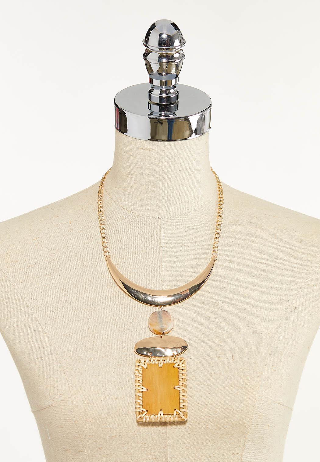 Raffia Stone Pendant Necklace (Item #44594492)