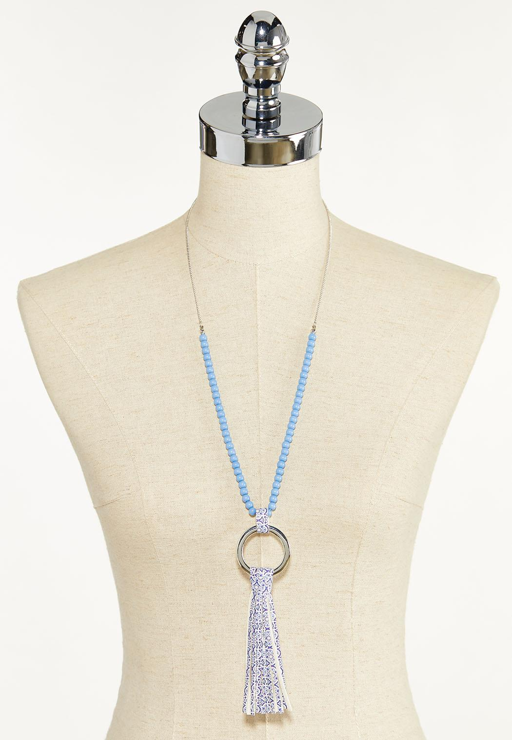 Mosaic Faux Leather Tassel Necklace (Item #44594564)