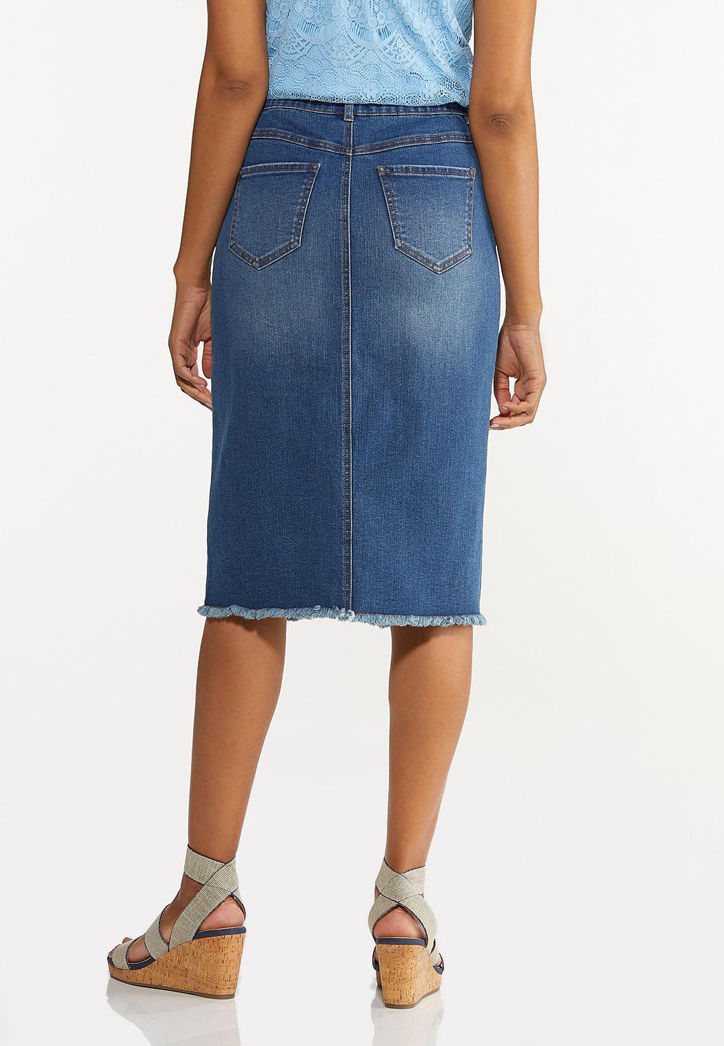 Frayed Denim Pencil Skirt (Item #44594754)