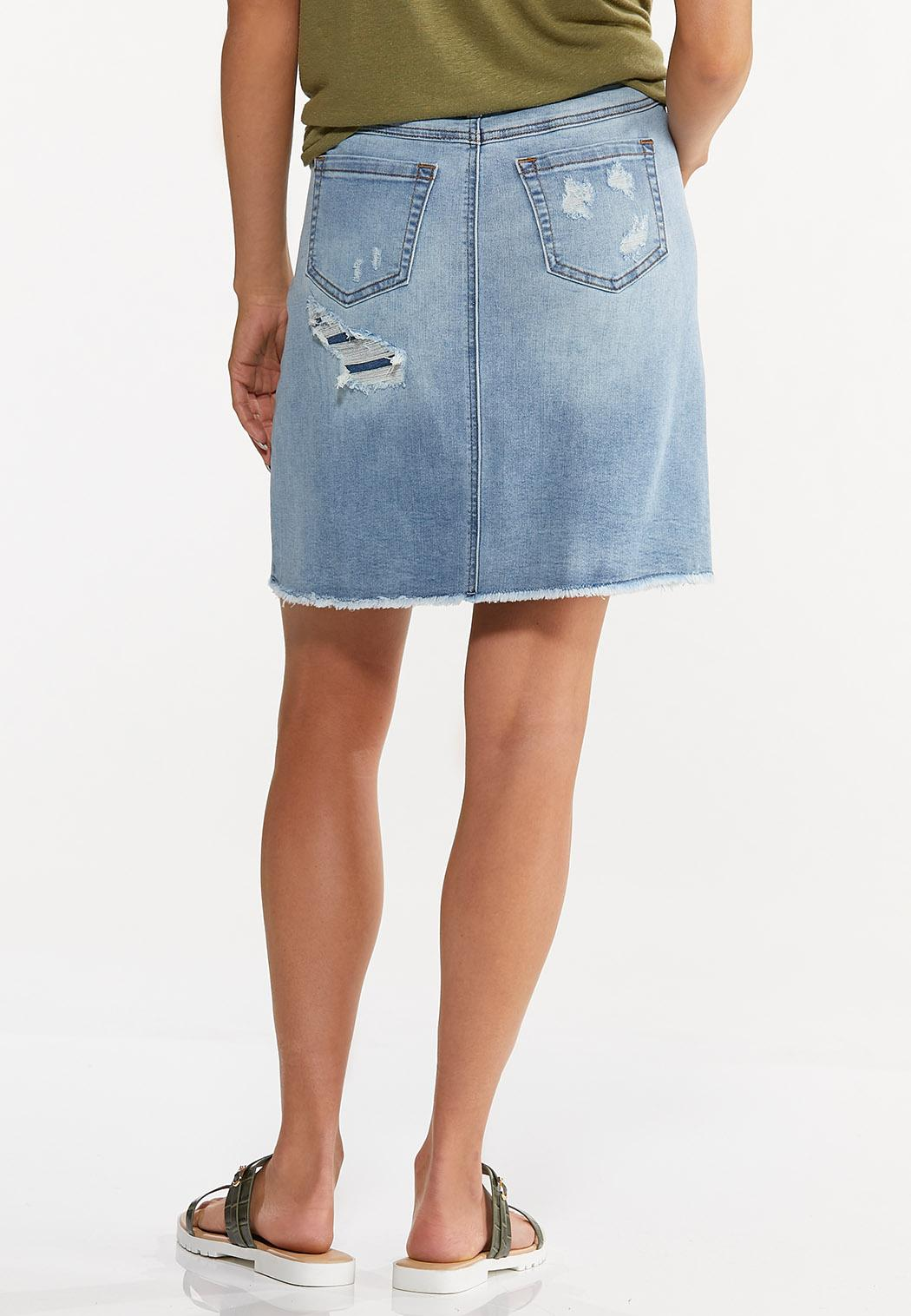Plus Size Rip And Repair Denim Skirt (Item #44594840)