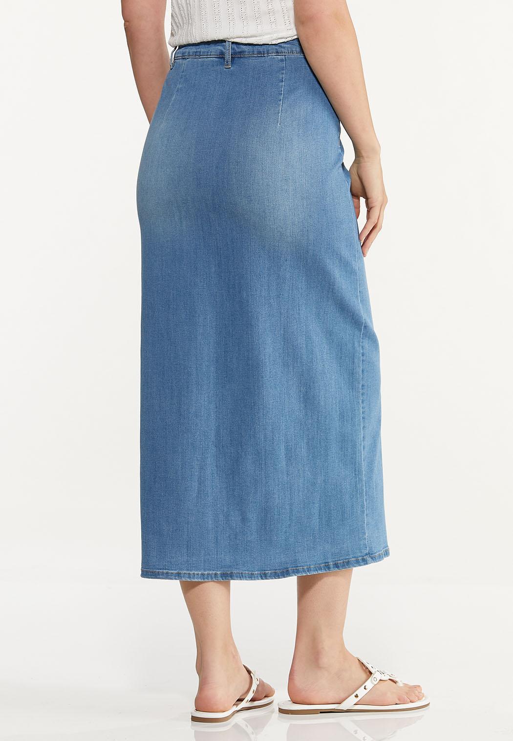 Plus Size Button Denim Maxi Skirt (Item #44594868)