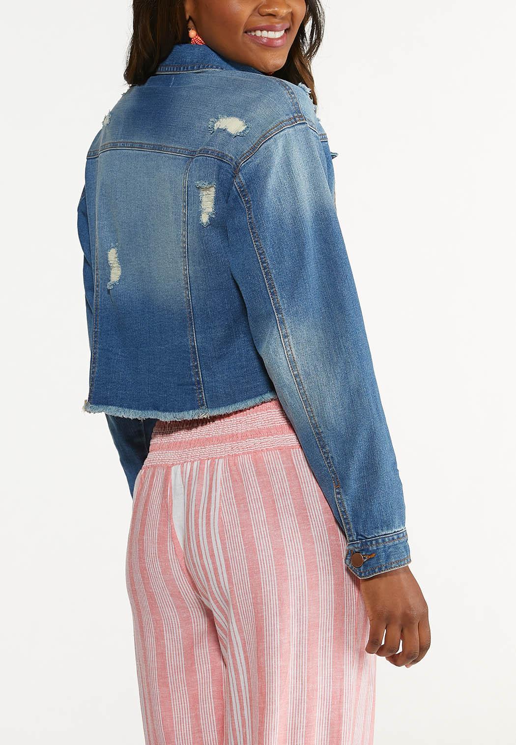 Plus Size Distressed Denim Jacket (Item #44594881)